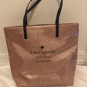 Handbags - Kate space rose gold sparkly tote